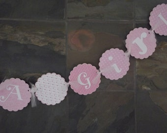 It's a  Girl Banner Banner Pink Welcome Baby Shower Banner - Custom Made to Match Your Party or Event
