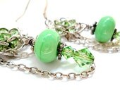 Green Lampworked Beads and Swarovski Crystals Dangle Filagree and Chain Earrings/Spring/Mothers Day - DarlenesGlassGarden