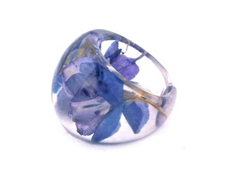 Purple  Resin Ring. Purple Flower Ring.  Pressed Flower Resin Ring.  Cocktail Ring.  Handmade Jewelry with Real Flowers -Purple Larkspur