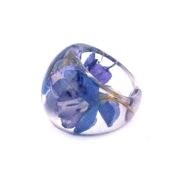 Purple Resin Ring Purple Flower Ring Pressed Flower Resin