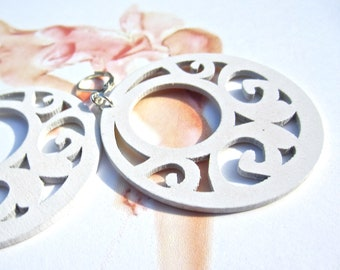 white Earrings- big earrings, wood cut out earrings-summer white wood earrings