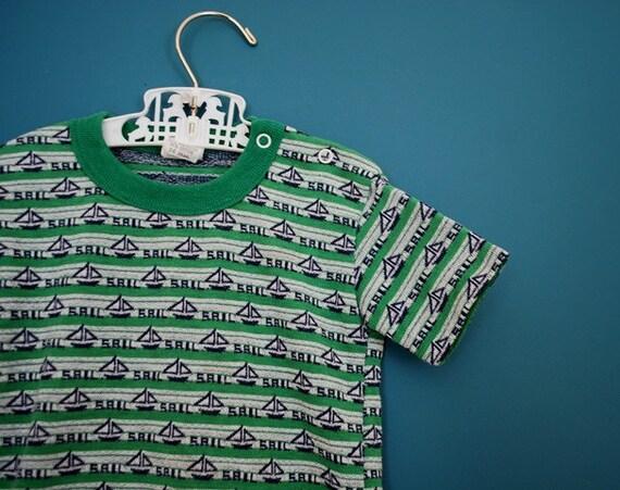 Vintage Sailboat Ringer Shirt- Size 24 Months