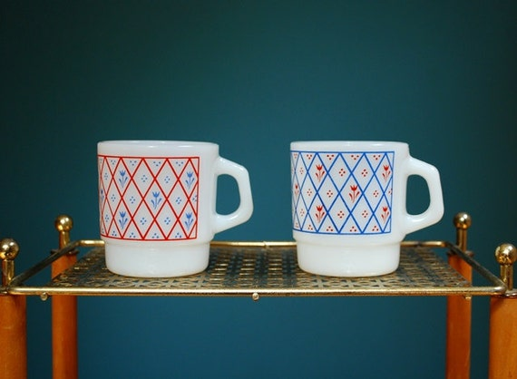 Vintage Set of Two Milk Glass Mugs with Floral Graphics