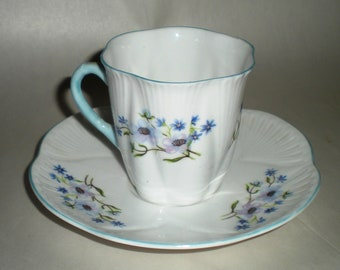 Shelley Demitasse Cup and Saucer - Vintage Bone China Blue Rock