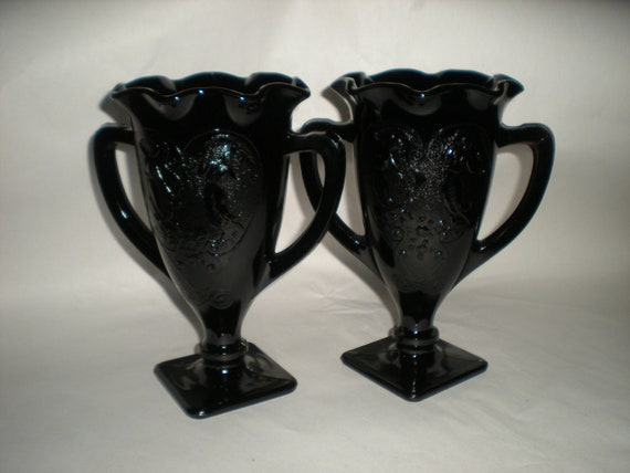 Vintage Black Amethyst Glass - Set of Two Handled Vases - Loving Cups