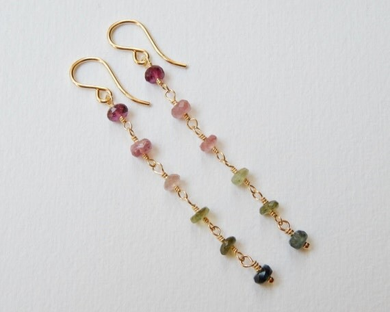 Watermelon Tourmaline Earrings - Gold Filled Long Beaded Dangle Earrings Pink and Green Tourmaline Beadwork Earrings