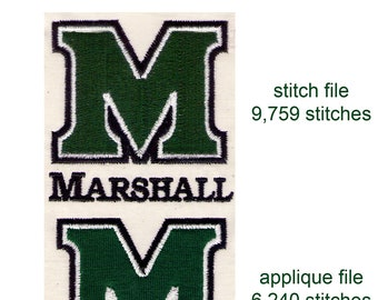 2 MARSHALL UNIVERSITY M LOGOS stitched & applique design files