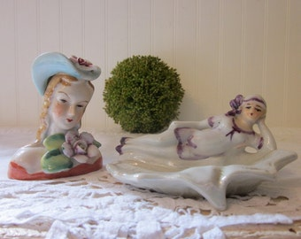 Two vintage women - Flapper Bathing Beauty Pin Dish & Mini Woman Bust, Women Collection Lot, Made in Japan.