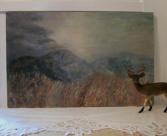 Home on the Range canvas painting. Hauntingly beautiful mountainside meadow. Shabby Country Cottage Farmhouse or Prairie decor. Original art