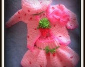 Strawberry Shortcake Crochet Out fit Pattern On PDF special Order For Chelsea