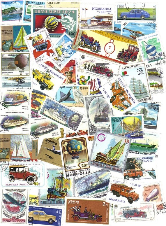 RESERVED for MARIA - 150 Transport postage stamps - Ships - Trains - Motor cars - Planes - Motor cycles - Hot air balloons