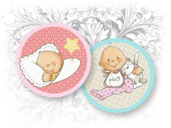 Sweet Baby 1.5 Inch Circles Digital Collage Sheet Download and Print