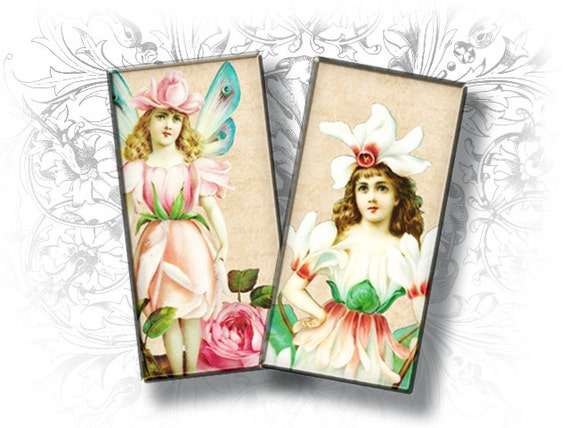 Vintage Flower Fairies 1 x 2 Inch Rectangular Images Digital Collage Sheet Download and Print