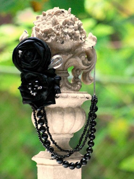 Ebony Black Statement Bib Necklace. Metallic Silver, Elegant Sophisticated Beads, Mum Mother Women Gift, Bold Bride Bridal Bridesmaid Unique