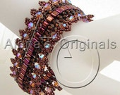 CLEARANCE, MERLOT Bracelet. Swarovski, Crystal, Pink, Sparkle, Red, Lace, Seed Bead, Beadwoven, Maroon, Indigenous Arts, Nancy Morris