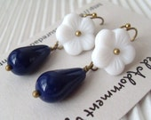 White Flower and Navy Teardrop Earrings, Vintage style, retro flower earrings, gift under 20,  Birthday gift, Thank you gift, White flower