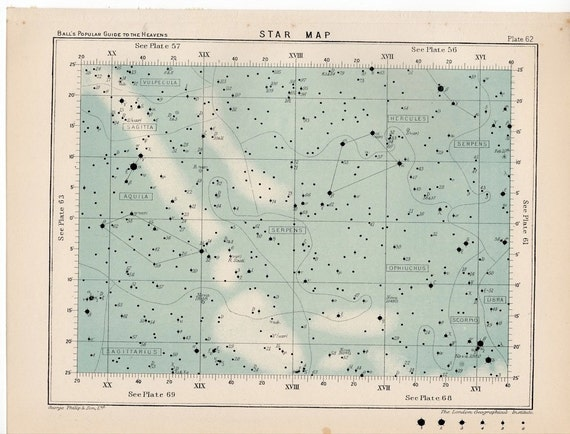 1910 star map 62 rare celestial star map original antique astronomy print english lithograph