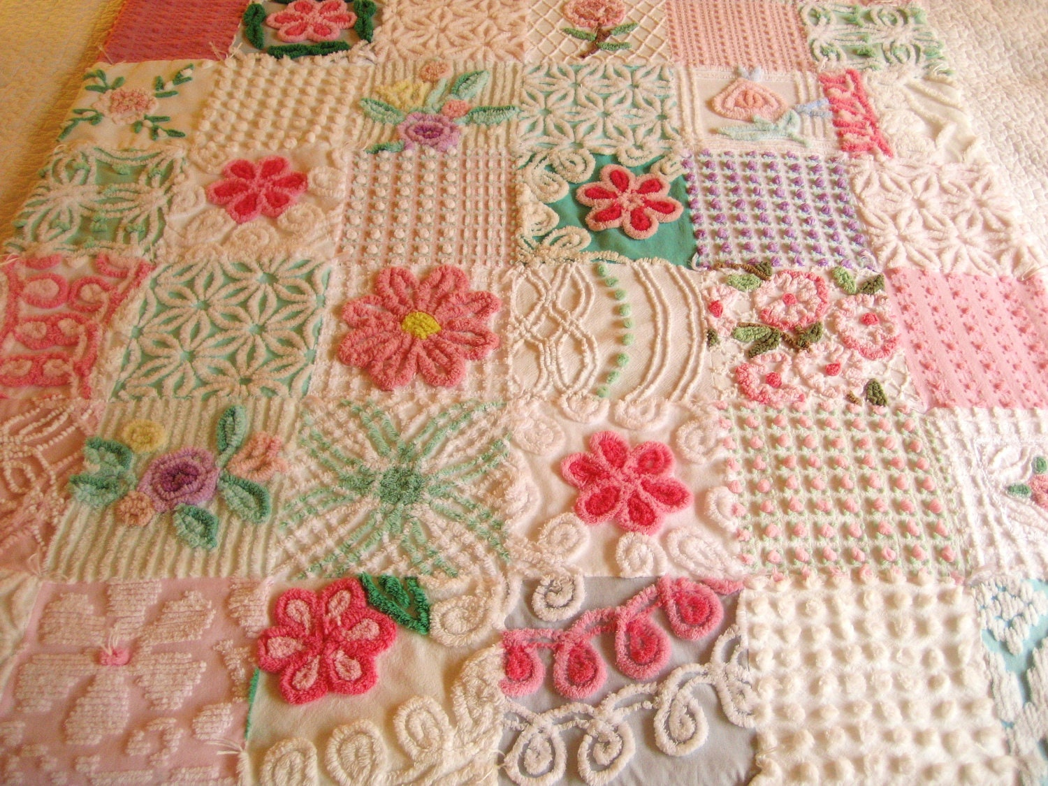 Custom Baby Quilt Vintage Chenille Garden of Roses and