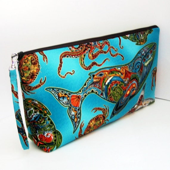 Zippered Project Bag SEA ANIMALS Large Zipper Pouch