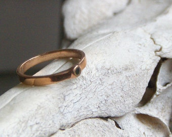 The Daughter of Odin Engagement Ring. 14k Russian Red Gold and Black Diamond Cubic Zirconia (CZ) Rustic Minimalist Heathen Viking Handmade
