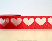 Red Hearts Washi Tape - BIG Hearts on Red - wide 20mm