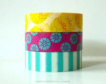 TULIP Washi Tape Yellow, Pink, Blue Stripe - Japanese Set of 3 PrettyTape