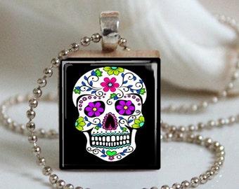"Sugar Skull 'Pink Flower"" Scrabble Necklace"