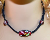 Black Hemp Hand Knotted Necklace Choker and Red Floral Lampwork Focal Bead