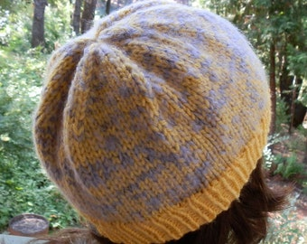 Hand Knit Beanie Yellow and Lilac For Child or Young Teen