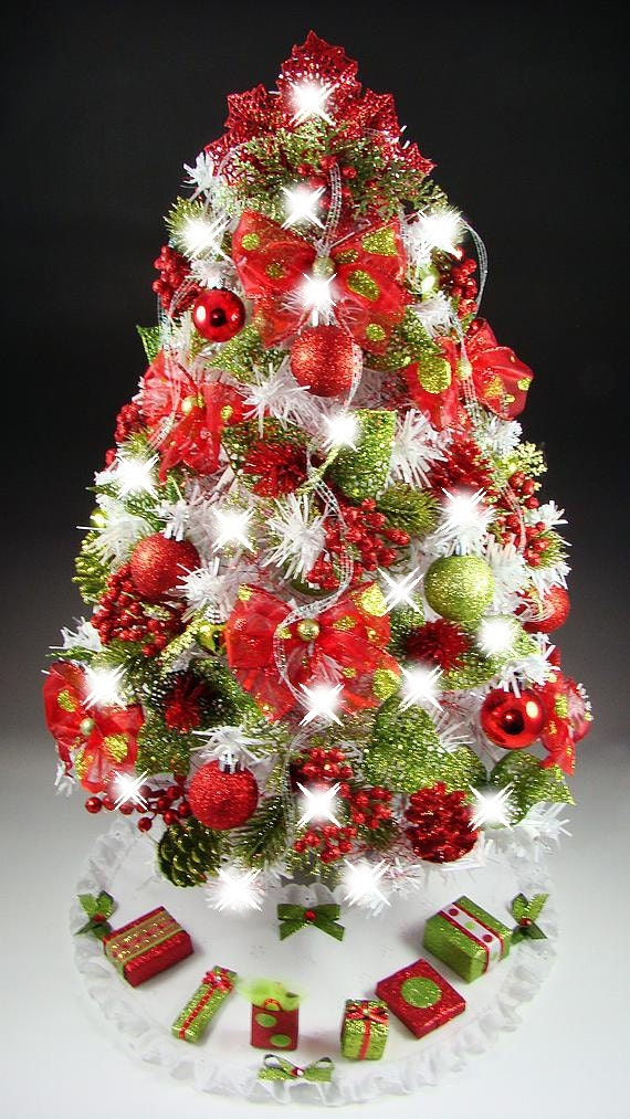 "Decorated Mini Tabletop Christmas Tree - Red & Lime Green Polka Dot - 23"" - 50 Lights - White Tree - Tree Skirt -  Matching Presents"