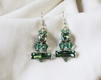 Shades of Green Swarovski Crystal Earrings