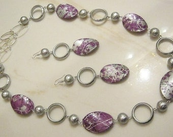 Purple Streak - Bib Necklace and Earrings Set