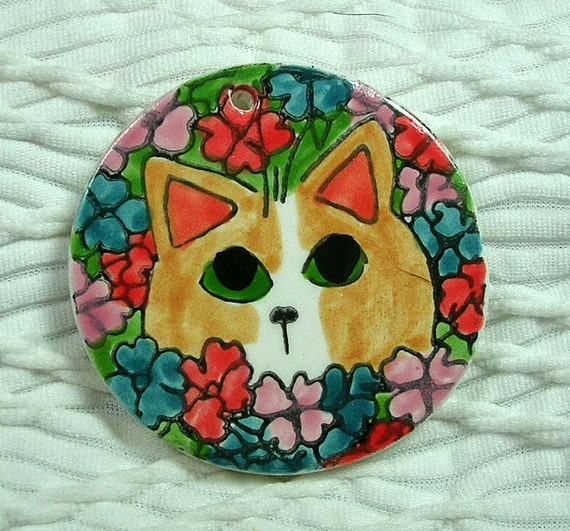 Ginger Cat In Flowers Focal Earthenware Clay Pendant Bead Supply Handmade Clay Design by GMS  Multi Uses