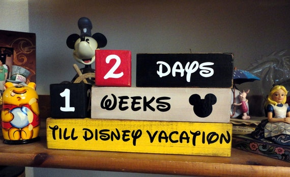 Disney Vacation Countdown Wooden Block set for Weeks and Days