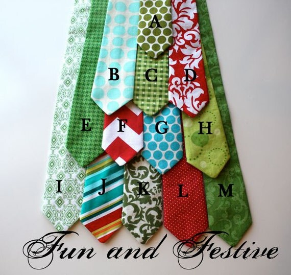 Little Guy HOLIDAY Christmas Necktie Tie - Fun and Festive Collection - (Newborn - 12 months) - Baby Boy Toddler - Custom Order - Photo Prop