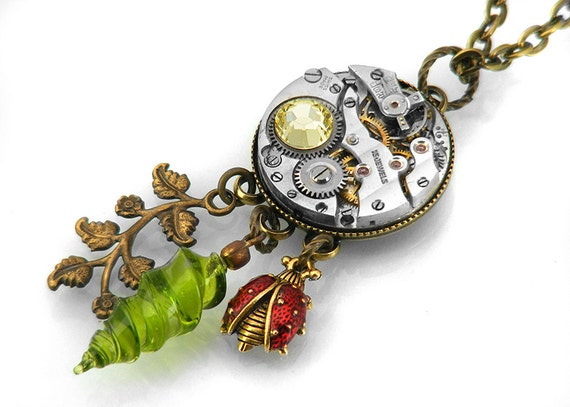 Steampunk Necklace, Exotic Charms & Vintage Watch Movement  - Long Chain Necklace