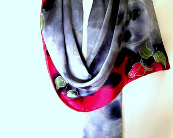 Silk Scarf, Hand Painted Silk Scarf, Skulls Roses Scarf, Gray Black Ruby Red Satin Goth Silk Scarf