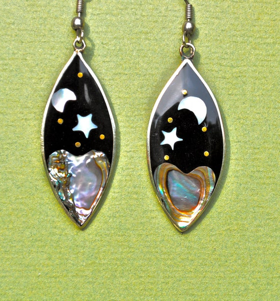alpaca mexico earrings inlaid abalone mexican alpaca silver earrings vintage mexico 1375