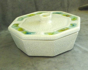 Mid Century Modern Jacquin Octagonal Dish With Lid. California Pottery with Colored Cracked Glass Accents.