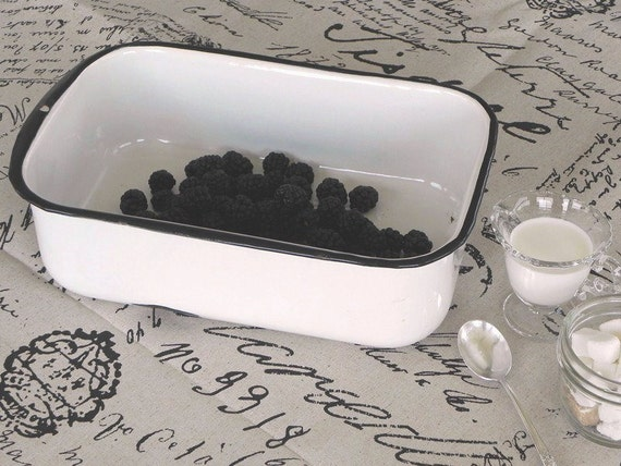 Vintage Porcelain Enamel Rectangular Pan. Refrigerator Pan. White and Black.