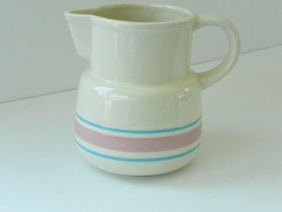 Vintage McCoy Stonecraft Pottery Pitcher.  Pastel Pink and Blue Stripes on Ivory.
