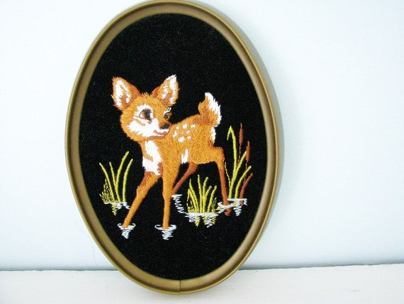 vintage Needlepoint Fawn in Oval Frame - deer in the meadow