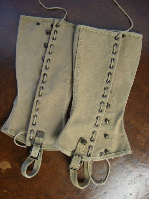 1940s Vintage Wwii Military Army Leggings Gaiters Spats By