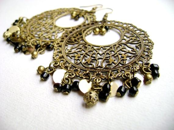 Mystify - worked filigree metal black and golden big earrings