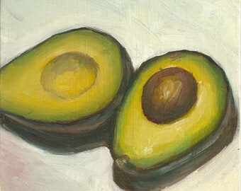 Avocado - Print of Original Oil Painting - Kitchen Art fits an 8 x 10 frame.