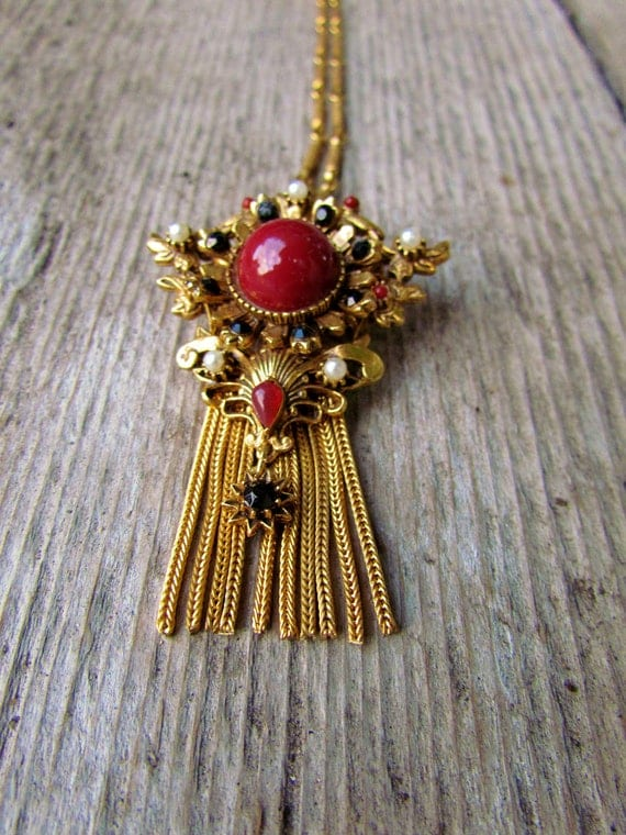 Vintage Victorian style red black and pearl necklace with gold fringe Florenza