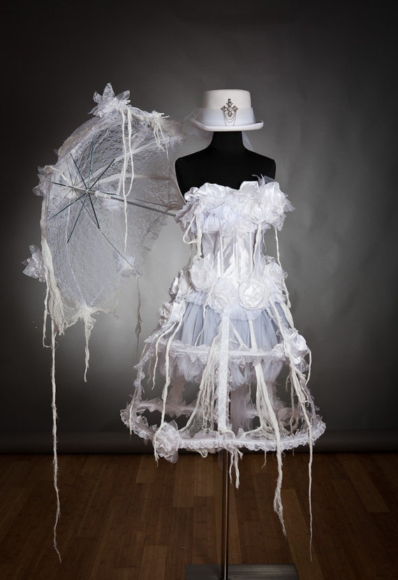 Size Small white victorian zombie ghost burlesque corset costume dress with top hat and umbrella Ready to ship