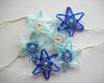 Star Ornaments Beaded Blue Bugles and Crystal AB Glass beads 6 Pieces