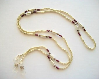 Silver Eyeglass Necklace Beaded Holder with Silver Plated Spiral Beads