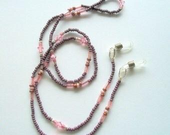 Purple Eyeglass Necklace Beaded Lanyard with Light Pink Swarovski Crystals